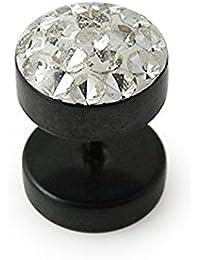 Plug oreille pierres fantaisies acier chirugical 316L anodisé noir avec pierres multi cristal diamant clair