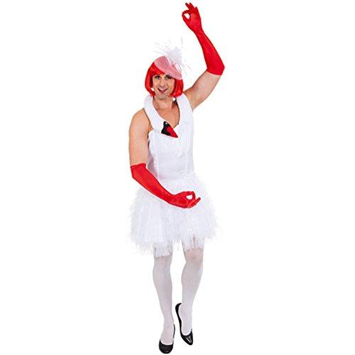 Männerballett weißer Schwan Kleid für Herren Fasching Karneval Schwanen Kostüm (Kostüme Witzige Ballett)
