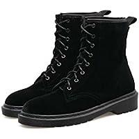 3cm Chunkly Heel Martin Botas Mujer Hermosa Toe Redonda Seude Pure Color Shoelace Vestido Botas Corte Zapatos Tamaño Eu 35-40 ( Color : Black , Size : 35 )