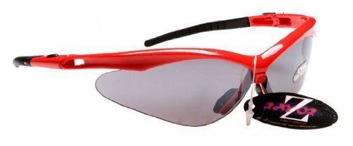 Rayzor professionnel léger UV400 Rouge Sport Wrap Tir à l'arc Lunettes de soleil, avec une fumée miroir anti-éblouissement Lens.