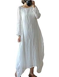 Juleya Frauen Leinen Kleider, Damen beiläufige lose Lange Ärmel Plain  Irregural Saum Pullover Maxi Kleid Plus… d2d9965594