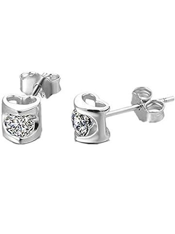 Boowhol Accessories Earrings 925 Sterling Silver Simple Hollow Heart Eternal Love Hypoallergenic Stud Earrings for