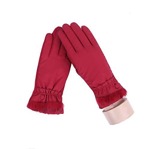 Small-shop-gloves Damen Winter-Handschuhe, weiches Plüsch-Innenfutter, warm, Winddicht, Blumen-Design, für Outdoor-Sportarten mit Touchscreen, 27E, Damen, C Red, oneszie