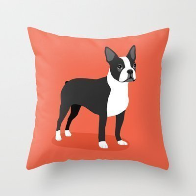 B Lyster shop Boston Terrier #1874W Cotton & Polyester Soft Zippered Cushion Throw Case Pillow Case Cover