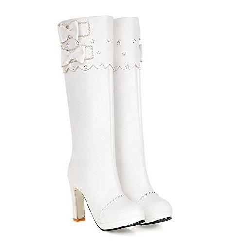 AgooLar Damen Ziehen Auf Rund Zehe Hoher Absatz Pu Leder Knie Hohe Stiefel Weiß