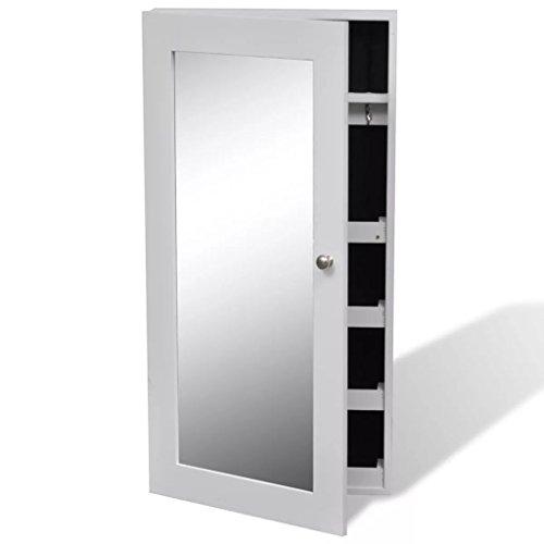 Festnight Schmuckschrank Wandschrank Spiegelschrank Hängeschrank mit Spiegel und 2 langen Türhänger für Schmuck Aufbewahrung - Stauraum-insel