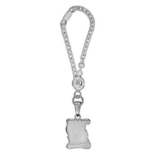 Medium Pergament Schlüsselanhänger Satin Finish Sterling Silber 925 - Individuell Gestaltbar: Gravur kostenfrei
