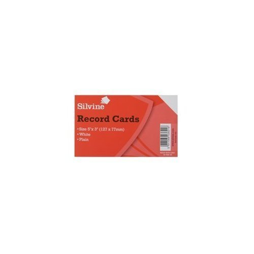 silvine-record-cards-127x77mm-plain-pack-of-100-color-white