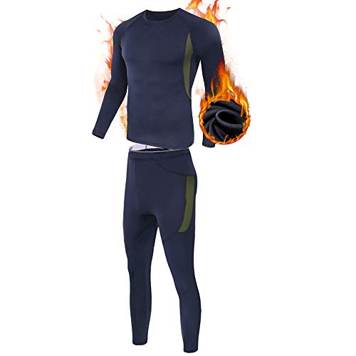 ESDY Thermo-Unterwäsche-Set für Herren, Wicking Long Johns Quick Dry Basisschicht-Sport-Kompressionsanzug für Workout Skifahren Laufen,Blau,M