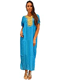 dee3f59f96 Handmade Ladies Kaftan Resort Wear Cover-up Fashion Turquoise Fez Cotton  Caftan