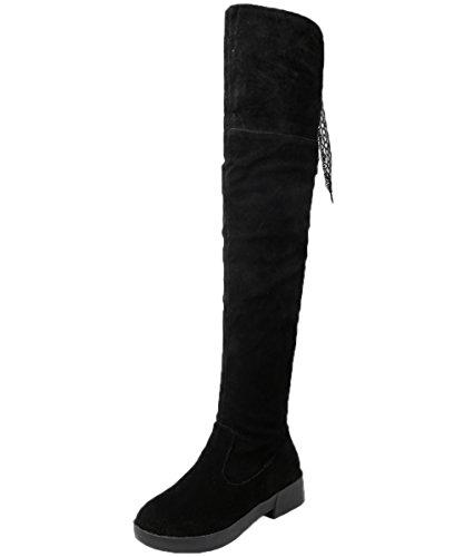 Knie Hohe Stiefel Damen Faltbare Faux Wildleder Elegant Spitzen Winter Oberschenkel Stiefel Von BIGTREE Schwarz 40 EU