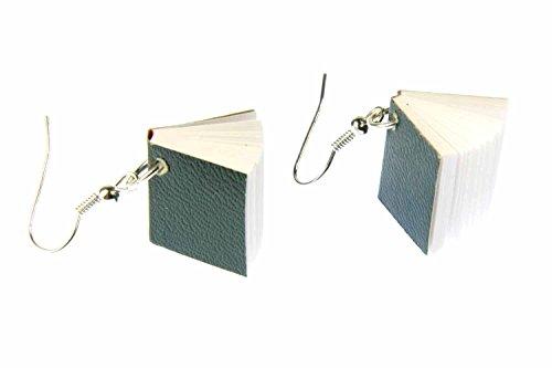 Buch Ohrringe Hänger Miniblings Bücher Buchohrringe Leseratte Seiten Book grün
