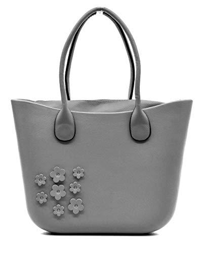 Borsa bag spalla donna fantasia silicone manici sacca scocca completa fiori ricamati borchie (grigio)