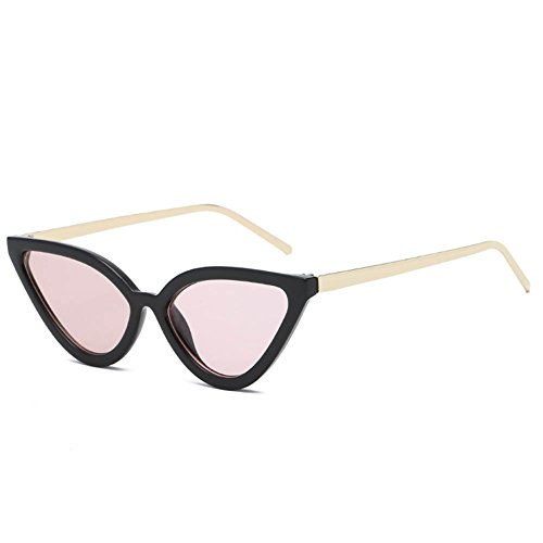 Occhiali da sole cat eye retro round face glasses,black/transparentpowder