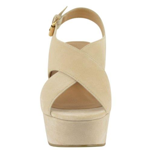 DONNE alto tacco medio plateau forma piatta Scarpe con zeppa sandali con punta aperta taglia color carne Crema camoscio