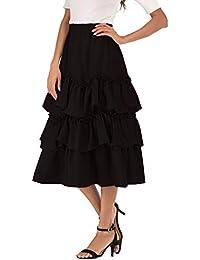 901b2936e9 kefirlily Mujer Falda Plisada Elegante Falda Básica Cintura Alta A-Line  Falda Flamenco Élastica