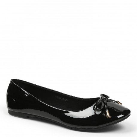 Ideal Shoes – Ballerine in vernice colorate, modello Tahani, nero (nero), 37