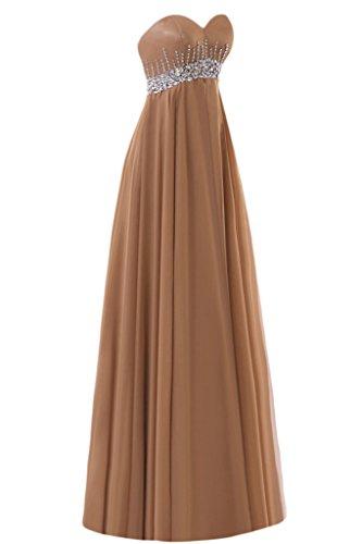 Gorgeous Bride Elegant Herz-Ausschnitt Empire Chiffon Lang Kristall Abendkleider Ballkleider Festkleider Bildfarbe