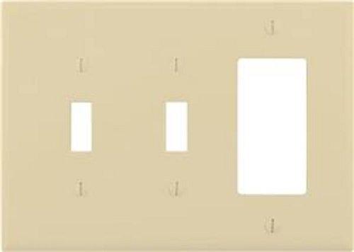Eaton Wiring PJ226V Wandplatte, 2 Toggle/1 Wippe, elfenbeinfarben