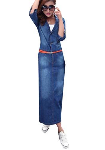 ehmen passende stilvolle langarm plus size split langes kleid XL Denblu ()