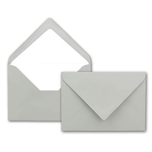 Kuverts in Hell-Grau 50 Stück Brief-Umschläge in DIN B6-12,5 x 17,6 cm Geripptes Papier - hochwertiges Seidenfutter für Weihnachten & Festliche Anlässe