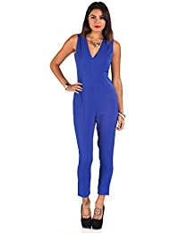 Missbehaver Tierney Tailored Electric Blue Evening Sleeveless Jumpsuit