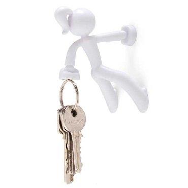 Key Petite-Key Pete Mädchen stark Magnetische Schlüsselhalter Haken Rack Magnet-Weiß