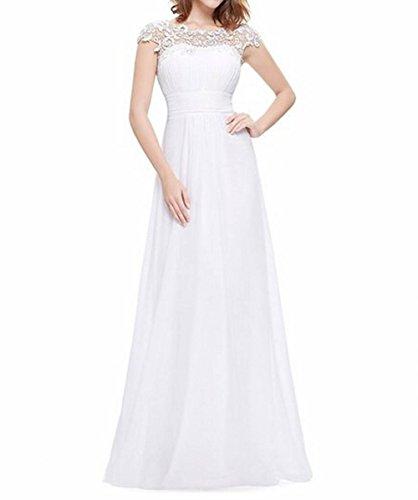 Leader de la beauté femmes robe de soirée dos ouvert froncé Blanc - Blanc