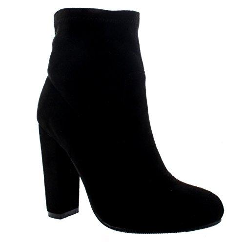 Moda Trecho Meia Moda Senhoras Tornozelo De Ajuste Botas Preta Chelsea Camurça Salto De Bloquear g4xqww0Z8a