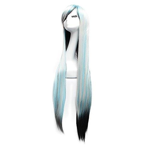 YUDA 99,1cm 3(100cm) Cosplay Perücke Lang Gerades gemischt Farbe Haar für Frauen Party Kostüm Perücke