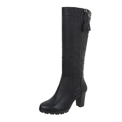 Classique Ital Kitten Design Chaussures Femme Bottes Heel Noir qIw5ff