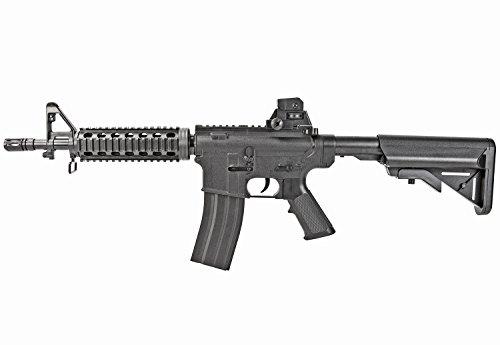 Nick and Ben Softair-Gewehr Sturmgewehr A4 schwarz mit RIS Schiene Spielzeug-Waffe max. 0,5 Joule im Set mit 6 mm BB Airsoft Munition
