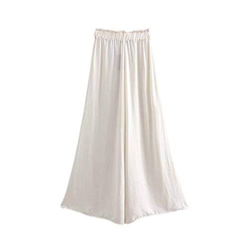 Women Elegent Wide Leg Pants Elastic Waist Casual Female Chic Black White Fashion Style Long Trousers Mujer sa Picture S Aeropostale Capris