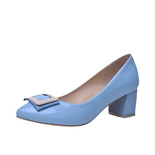 AgooLar Damen Mittler Absatz Lackleder Rein Ziehen auf Spitz Schließen Zehe Pumps Schuhe, Himmelblau, 39