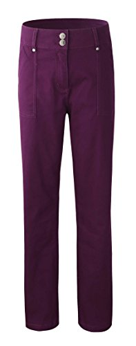 Bienzoe Damen Mode Causal Twill Stretch Straight-Leg Pants Lila GRÖßE 14 (Bootleg Mode)