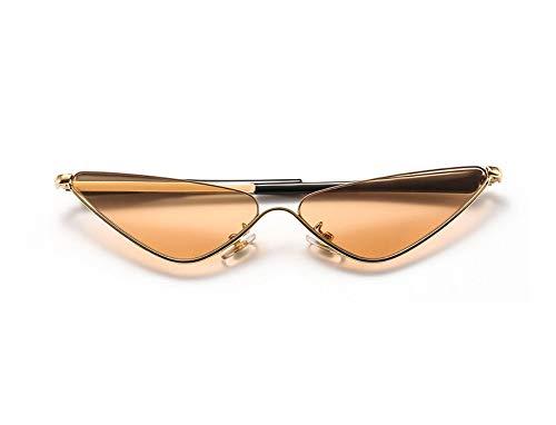 WSKPE Sonnenbrille,Halbe Rahmen Cat Eye Sonnenbrille Hip Hop Dreieck Brille Metal Female Klare Sonne Glas Uv400 Gold Rahmen Orange Linse