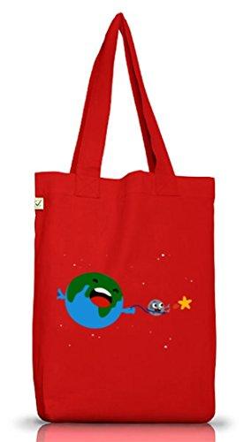 Geschenkidee Jutebeutel Stoffbeutel Earth Positive mit Sternenfänger Motiv Red
