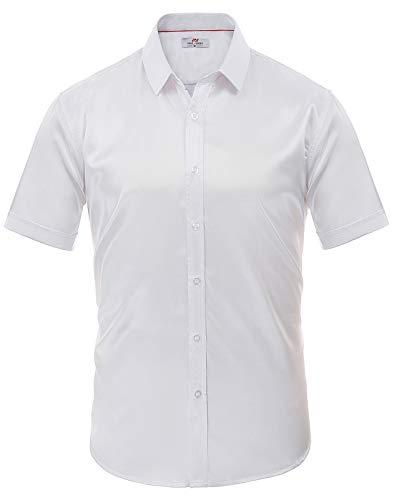 Pauljones camicia da uomo in raso morbida a maniche corte bottoni comoda classica taglia xl bianca