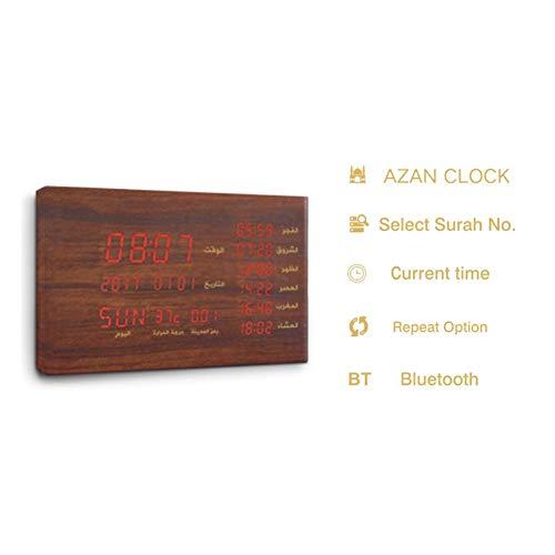 Kinshin Islamischer Bluetooth Audio Wecker, Muslim Wanduhr Gebet Uhr Digital Alarm