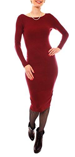 Fragolamoda Damen Winter Midi Kleid Feinstrick Gerippt Strickkleid Eng Rundhals Langarm Wadenlang Einfarbig One Size Weinrot Bordeaux