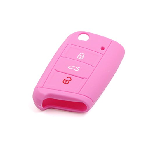 Sourcingmap® Rosa Silikon Auto Fernbedienung Flip Schlüsselanhänger Cover Shell Fall 70x 42x 16mm (Schlüsselanhänger Fällen)