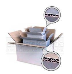1 Verpackungseinheit (15 Stück) weiße Wellpapp-Faltkartons<br/>2-wellig<br/>Innenmaße: L 335 mm x B 250 mm x H 170 mm<br/>geeignet für DIN A4+