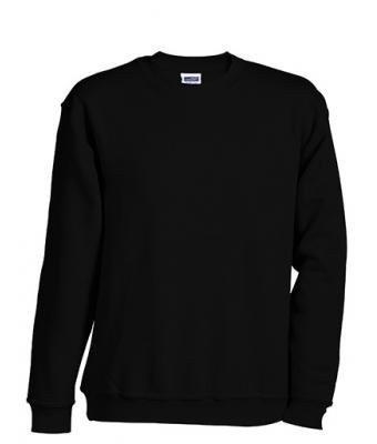 JN-0.40 James+Nicholson Herren Sweatshirt (auch in Übergrößen - bis Größe 5XL), Black , Gr. XL XL,Black (Shirt Xl Sweatshirt Herren)
