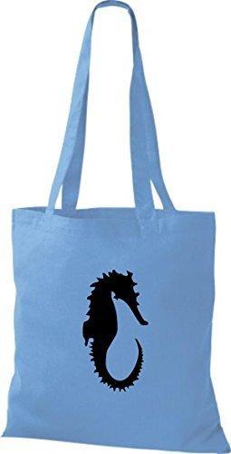 ShirtInStyle Stoffbeutel Seepferd Seepferdchen Baumwolltasche Beutel, diverse Farbe surf blue