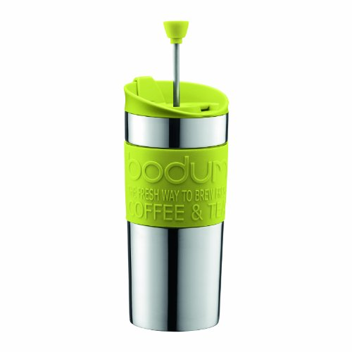 BODUM-Travel-Press-Set-Small-Stainless-Steel-Coffee-Maker-with-Extra-Lid-Vacuum-035-Litre-12-oz-Lime-GreenParent