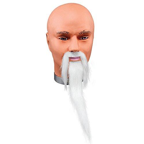 Chinesisch Lieferung Kostüm - Bristol Novelty MB078 Zauberer Bart und Schnurrbart, Weiß, Herren, Einheitsgröße