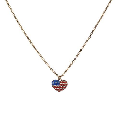 Lux Accessories God Bless America 4. Juli Fourth Amerikanische Flagge Glatt Anhänger Halskette Amerikanischen Ein-dollar-münze