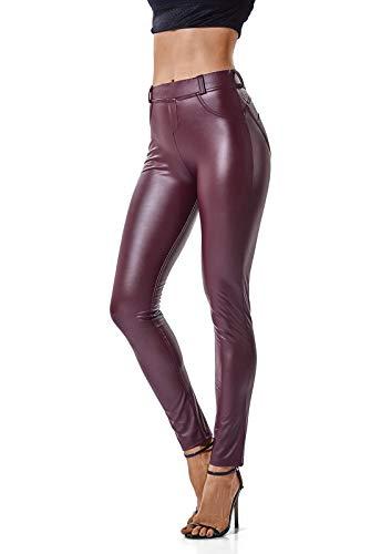 FITTOO Mujeres PU Leggins Cuero Brillante Pantalón Elásticos Pantalones para Mujer Rojo XL
