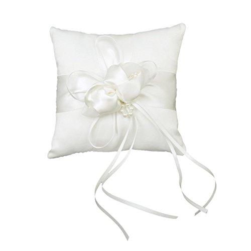 UEETEK Braut Hochzeit Ceramony Pocket Ring Kissen Kissen Träger mit Bändern (weiß)