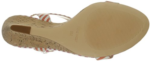 Nine West Kiani synthétique Wedge Sandal White/Orange/White/Dark Pink